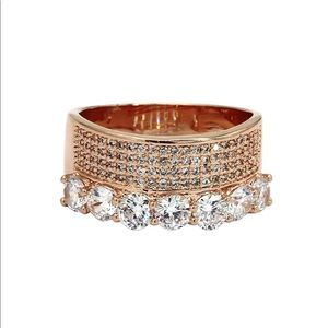 Fashion rose gold luxury crystal ring